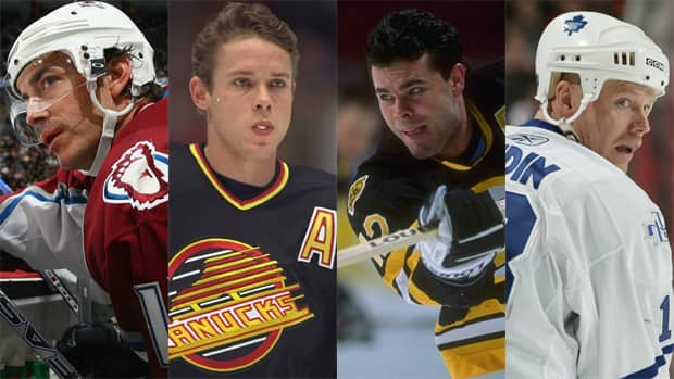 From left to right, Joe Sakic, Pavel Bure, Adam Oates, and Mats Sundin will be enshrined in the Hockey Hall of Fame this year. (Getty Images/CBC Sports)