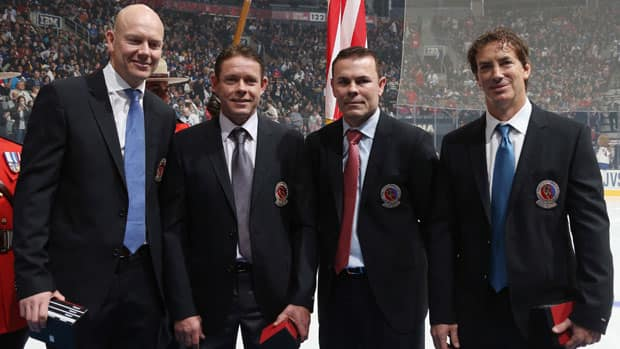 2012 Hockey Hall of Fame inductees, from left, Mats Sundin, Pavel Bure, Adam Oates and Joe Sakic pose for a photo prior to the Legends Game at Air Canada Centre in Toronto. (Bruce Bennett/Getty Images)