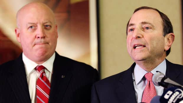 NHL commissioner Gary Bettman, right, flanked by Bill Daly, and the league rejected the latest CBA proposal from the players on Thursday. (Mary Altaffer/Associated Press)