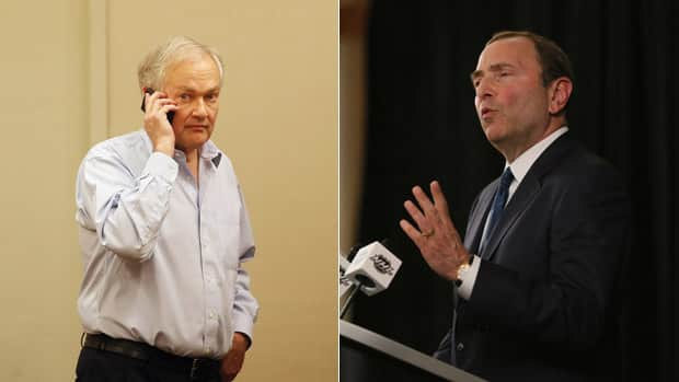 NHLPA executive director, left, and NHL commissioner Gary Bettman addressed the media separately on Thursday night after failed labour talks over the last couple of days. (Getty Images/CBCSports.ca)