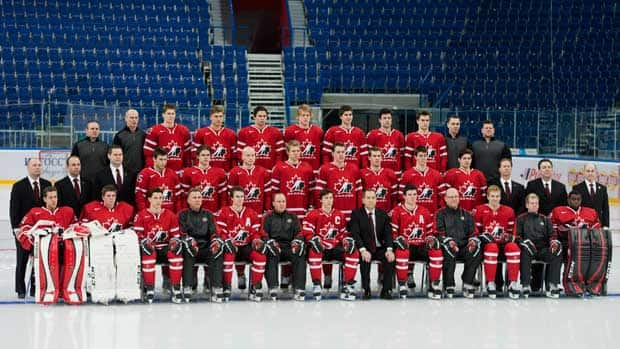 Team Canada poses for its team picture during practice on Tuesday before the upcoming IIHF World Junior Championships in Ufa, Russia. (Nathan Denette/Canadian Press)