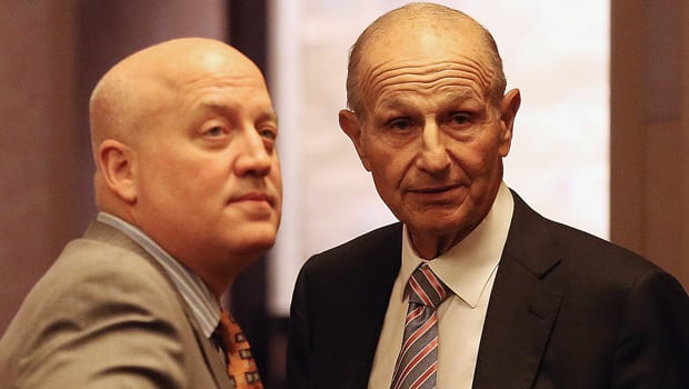 Bruins owner Jeremy Jacobs, right, and NHL deputy commissioner Bill Daly talk at the Westin Times Square on Wednesday. (Bruce Bennett/Getty Images)