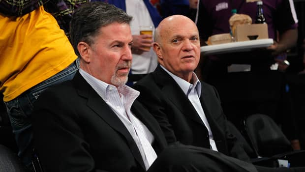 NHL executives from Madison Square Garden president Hank J. Ratner, left, to Devils president Lou Lamoriello are sitting tight. (Bruce Bennett/Getty Images)