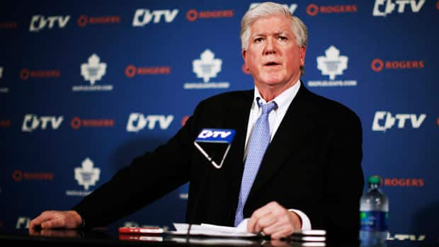 Brian Burke spoke about his dismissal as Maple Leafs president and GM, as well as his future with the club at a news conference in Toronto on Saturday. (Mark Blinch/Reuters)