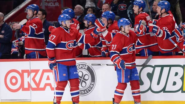 Brendan Gallagher (73) celebrates his first career NHL goal with the rest of his Montreal Canadiens' teammates on Sunday night. (Richard Wolowicz/Getty Images)