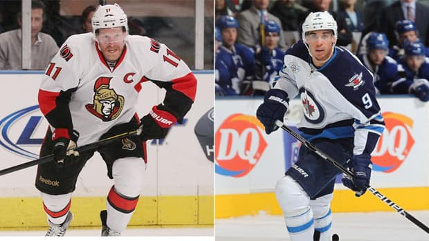 Winnipeg Jets left wing Evander Kane, right, and Ottawa Senators captain Daniel Alfredsson will face each other in the season opener Saturday on Hockey Night in Canada. (Getty Images)