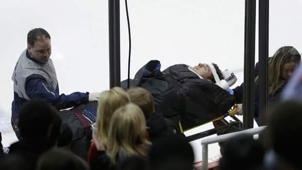 Columbus Blue Jackets forward Artem Anisimov was stretchered off the ice and taken to hospital Thursday night. (Carlos Osorio/Associated Press)