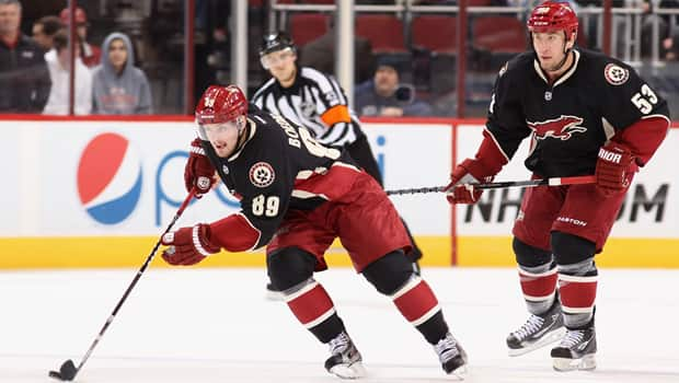Mikkel Boedker (89) of the Coyotes skates up ice in a 4-0 win over the Predators at Jobing.com Arena on Monday. (Christian Petersen/Getty Images)