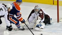 Edmonton Oilers' Ales Hemsky, centre, scores a goal against Colorado Avalanche goalie Semyon Varlamov during the second period Saturday. (Dan Riedlhuber/Reuters)