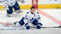 Toronto Maple Leafs captain Dion Phaneuf appeared to be favouring his knee at the end of their 3-2 road win over the Winnipeg Jets on Thursday. (Greg Fiume/Getty Images)