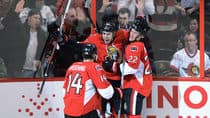 Ottawa Senators' Mika Zibanejad, middle, celebrates his goal against the Toronto Maple Leafs with teammates Colin Greening, left, and Erik Condra in Ottawa on Saturday. (Sean Kilpatrick/Canadian Press)