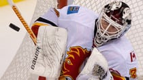 Goalie Miikka Kiprusoff, currently out with a knee injury, is one of the veteran Flames who could net a solid return in a trade. (Darryl Dyck/Canadian Press)