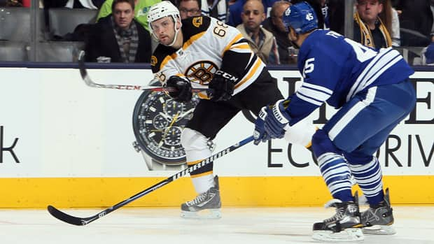 Boston Bruins winger Jamie Tardif (68) only had 5:30 of ice time in his debut effort on Saturday night, but he did have a couple scoring chances against the Toronto Maple Leafs. (Abelimages/Getty Images)