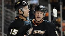 Ryan Getzlaf, left, got a rich contract extension from the Ducks. Is Corey Perry, right, next? (Harry How/Getty Images)