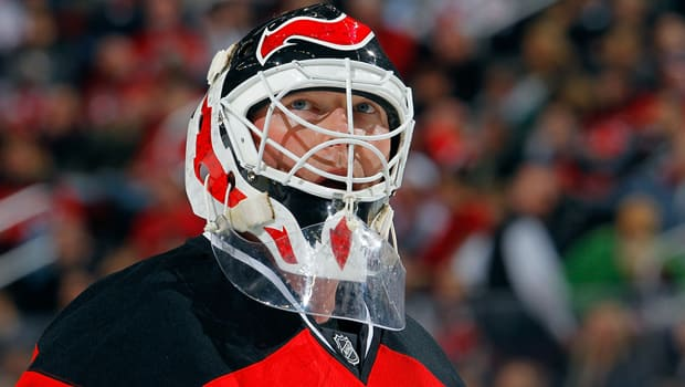 Martin Brodeur of the Devils peers up at the scoreboard in a 2-0 loss to the Senators this past Friday at the Prudential Center. (Jim McIsaac/Getty Images)