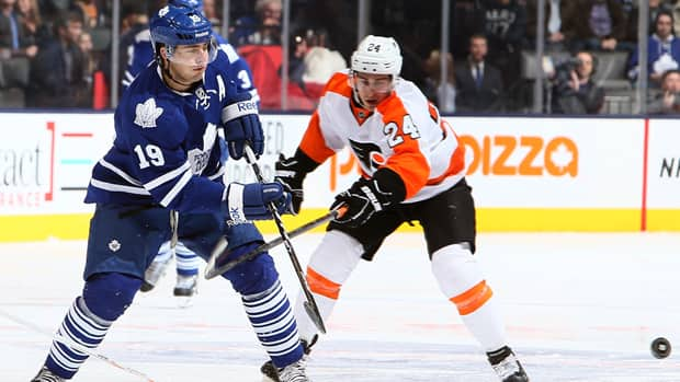 Joffrey Lupul of the Toronto Maple Leafs, left, passes past Matt Read of the Philadelphia Flyers during Thursday's game. (Photo by Abelimages/Getty Images)