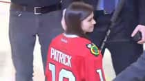 Race car driver Danica Patrick proved she can hold her own on the ice Tuesday night during the second intermission of Game 1 between the Chicago Blackhawks and Minnesota Wild. (Hockey Night in Canada/Screen grab)