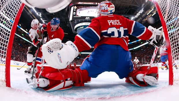 Carey Price (31) will command the Stanley Cup playoff spotlight as the Canadiens and Senators meet in the opening round. (Richard Wolowicz/Getty Images)