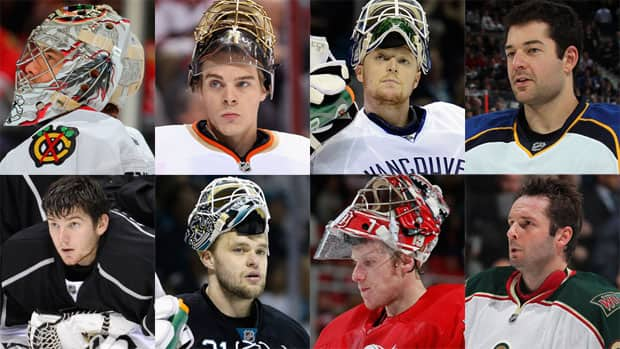 The eight starting goaltenders from the NHL's Western Conference. Will any of these netminders be displaced by a backup on the way to the Stanley Cup final? (Photos courtesy Getty Images)