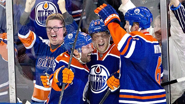 Edmonton players celebrate a goal last week in a win over Columbus, part of a modest win streak. Jason Franson/Canadian Press