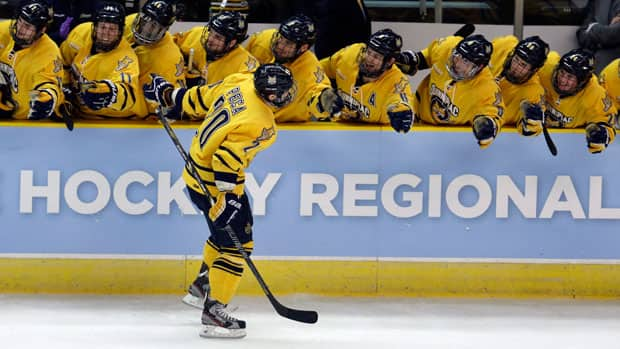 Matthew Peca, front, has tied for the Bobcats' points lead with 15 goals and 30 points in 37 games. (Steven Senne/Associated Press)