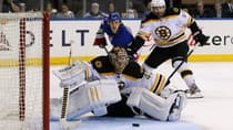 Boston Bruins goalie Tuukka Rask looks back at the puck as it slowly crosses the goal-line on a shot by New York Rangers forward Carl Hagelin in Game 4 at Madison Square Garden on Thursday in New York City. (Bruce Bennett/Getty Images)