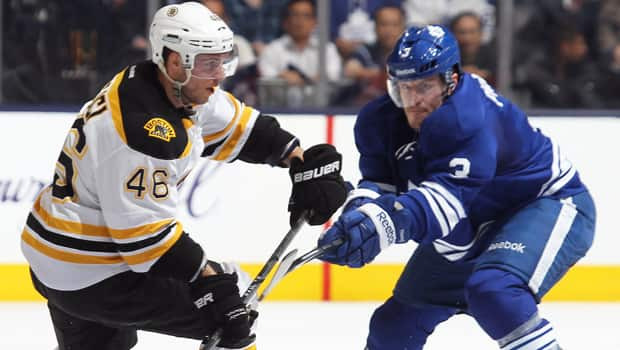 David Krejci (46) was the hero for the Bruins and Dion Phaneuf (3) the goat for the Maple Leafs in Game 4 on Wednesday. (Claus Andersen/Getty Images)