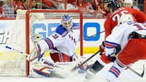 Despite the solid goaltending of Henrik Lundqvist, left, the Rangers find themselves in a 2-0 series hole against the Washington Capitals. (Greg Fiume/Getty Images)