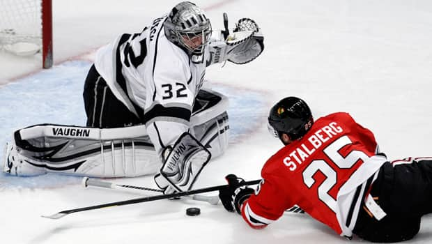 Jonathan Quick (32) of the L.A. Kings leads all playoff goaltenders in goals-against average, save percentage and shutouts. (Jeff Haynes/Reuters)