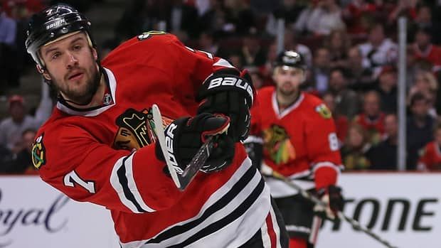 Chicago Blackhawks defenceman Brent Seabrook robbed the Detroit Red Wings of an important goal in the third period Wednesday night. (Jonathan Daniel/Getty Images)