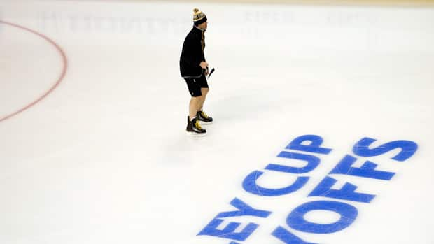 Boston Bruins winger Jaromir Jagr works out alone on the ice before a first-round playoff game in May. (Brian Snyder/Reuters)