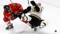 Chicago Blackhawks defenceman Brent Seabrook, left, has shown strong leadership qualities throughout the playoffs this year, despite not wearing a