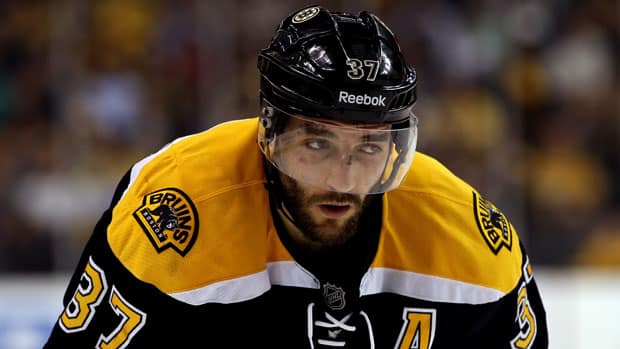 A mystery ailment has the status of Boston's Patrice Bergeron uncertain for Game 6. (Bruce Bennett/Getty Images)
