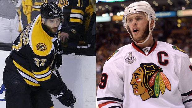 The Chicago Blackahwks are optimistic centre, Jonathan Toews, right, will play in Game 6, while the status of Boston Bruins counterpart Patrice Bergeron, left, remains uncertain. (Getty Images/Reuters)