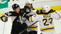 Matt Cooke (24) of the Penguins scuffles with Chris Kelly (23) of the Bruins in the best-of-seven NHL Eastern Conference final. (Brian Snyder/Reuters)