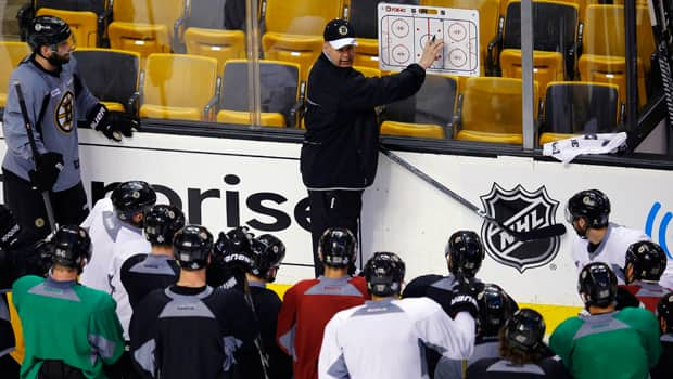 Boston Bruins head coach Claude Julien, middle, outlines a drill at morning practice at TD Garden in Boston, Mass., on Monday. (Brian Snyder/Reuters)