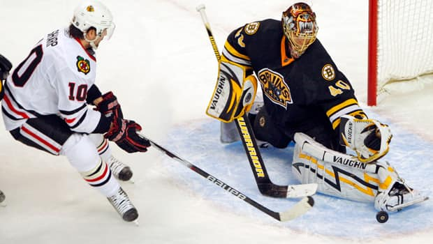 Patrick Sharp (10) and the Blackhawks take on Tuukka Rask (40) and the Bruins in the Stanley Cup final beginning Wednesday. (Brian Snyder/Reuters)