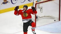 Blackhawks centre Andrew Shaw celebrates scoring in triple overtime against the Boston Bruins in Game 1 of the Stanley Cup final Wednesday night in Chicago. (Jeff Haynes/Reuters)