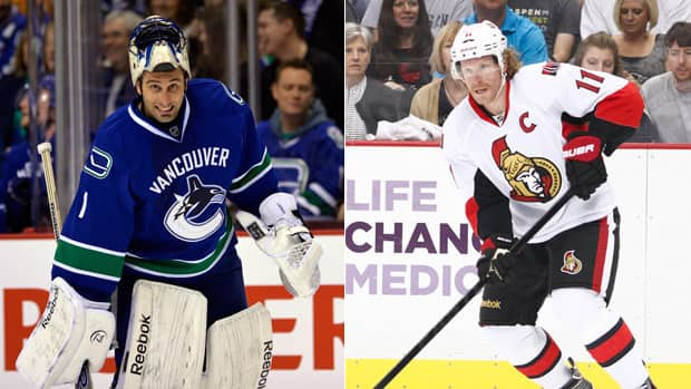 The Vancouver Canucks will be sticking with veteran Roberto Luongo in net, while the Ottawa Senators will be moving on without their long-time captain Daniel Alfredsson. (Getty Images/CBCSports.ca)