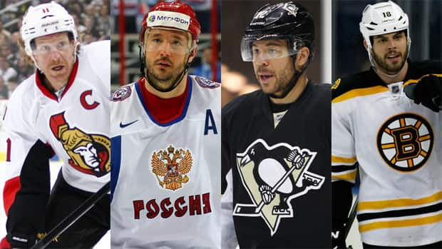 From left to right, Daniel Alfredsson, Ilya Kovalchuk, Jarome Iginla, and Nathan Horton have all changed teams since the Stanley Cup was awarded in June. (Photos courtesy Getty Images)
