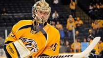 Despite the fact that Predators goalie Pekka Rinne won just 15 games last season, the perennial all-star still put up a 2.43 goals against average, a .910 save percentage and five shutouts on an underachieving Nashville team. The NHL leader in wins in 2011-12 should be a good bet for a rebound season. (Frederick Breedon/Getty Images)