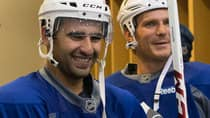 Nazem Kadri, left, says he appreciated the help when new Maple Leafs teammate David Clarkson, right, came to his aid in Thursday's pre-season game at Ottawa after Kadri was shoved by a Senators player.