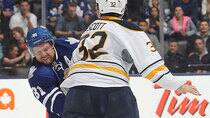 The Maple Leafs' Phil Kessel, who has been a bit of a stick-swinging loose cannon in the pre-season, according to CBCSports.ca hockey writer Mike Brophy, says he shouldn't have slashed Sabres tough guy John Scott a second time during Sunday's pre-season brawl in Toronto. (Claus Andersen/Getty Images)