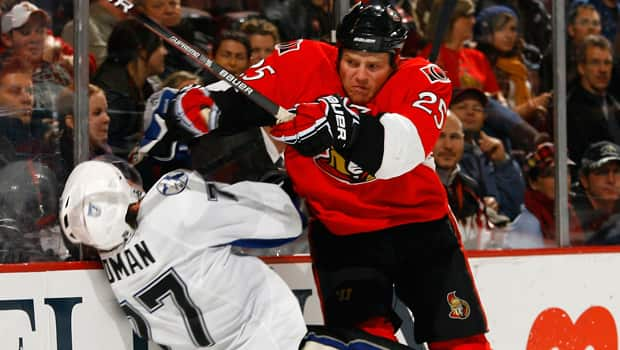 Greater onus is being placed on NHL players themselves this season to avoid targeting the head when making bodychecks. (Phillip MacCallum/Getty Images)