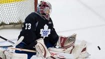 Maple Leafs goalie prospect Garret Sparks is known for his laser-quick legs which he displayed Thursday night in a 3-2 shootout win over the Chicago Blackhawks at the four-team NHL rookie tournament in London, Ont. (Canadian Press)