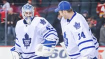 Toronto Maple Leafs goalies Jonathan Bernier (45) and James Reimer (34) have shared the duties in net so far this season. (Derek Leung/Getty Images)