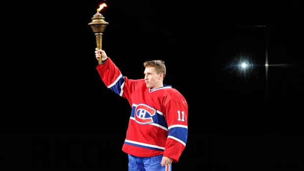Brendan Gallagher of the Montreal Canadiens is introduced to fans during pre-game ceremonies prior to their season-opening game against the Toronto Maple Leafs Tuesday on Hockey Night in Canada. (Richard Wolowicz/Getty Images)