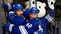 Toronto Maple Leafs forward Joffrey Lupul, left, celebrates his game-tying goal with Tyler Bozak in a 6-5 overtime win against the Edmonton Oilers on Saturday. (Abelimages/Getty Images)