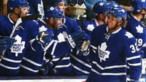 Josh Leivo of the Toronto Maple Leafs celebrates his first NHL goal against the Carolina Hurricanes on October 17, 2013 in Toronto. (Abelimages/Getty Images)