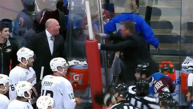 Colorado Avalanche head coach Patrick Roy, right, clashes with Anaheim Ducks head coach Bruce Boudreau on Wednesday. (AltitudeTV/Youtube)